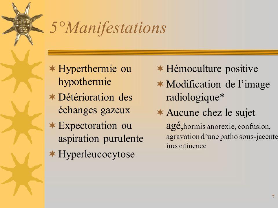 7 5°Manifestations Hyperthermie ou hypothermie Détérioration des échanges gazeux Expectoration ou aspiration purulente Hyperleucocytose Hémoculture po