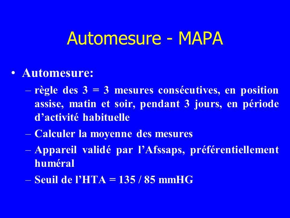 Automesure - MAPA Automesure: –règle des 3 = 3 mesures consécutives, en position assise, matin et soir, pendant 3 jours, en période dactivité habituel