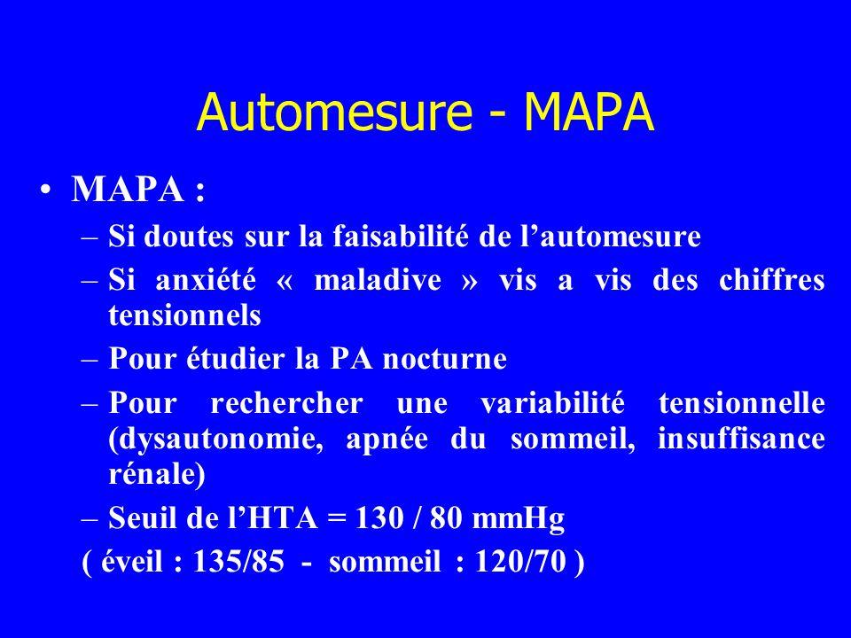 Automesure - MAPA MAPA : –Si doutes sur la faisabilité de lautomesure –Si anxiété « maladive » vis a vis des chiffres tensionnels –Pour étudier la PA