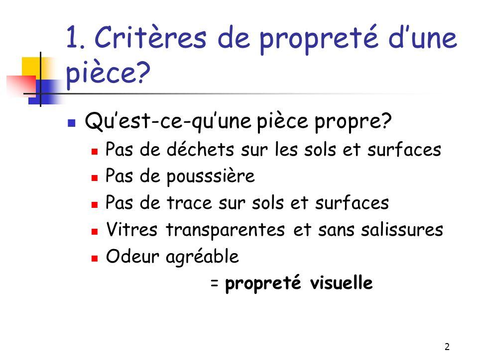 3 1.Critères de propreté dune pièce.