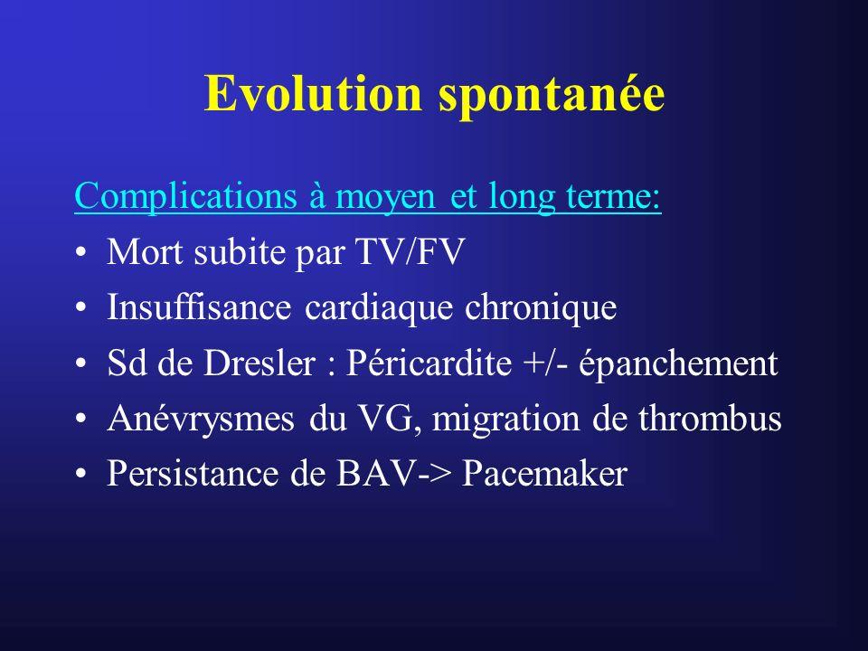 Evolution spontanée Complications à moyen et long terme: Mort subite par TV/FV Insuffisance cardiaque chronique Sd de Dresler : Péricardite +/- épanch