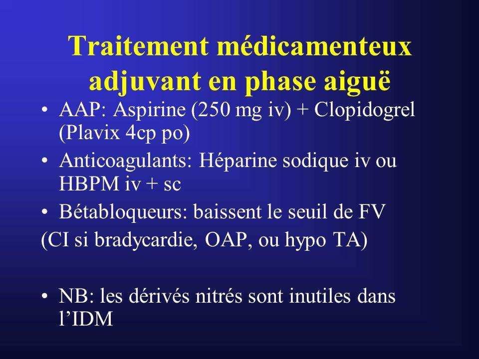 Traitement médicamenteux adjuvant en phase aiguë AAP: Aspirine (250 mg iv) + Clopidogrel (Plavix 4cp po) Anticoagulants: Héparine sodique iv ou HBPM i