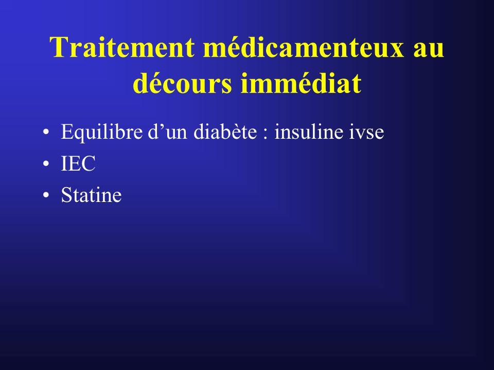 Traitement médicamenteux au décours immédiat Equilibre dun diabète : insuline ivse IEC Statine