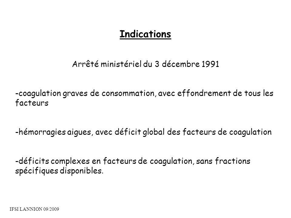 Indications Arrêté ministériel du 3 décembre 1991 -coagulation graves de consommation, avec effondrement de tous les facteurs -hémorragies aigues, ave