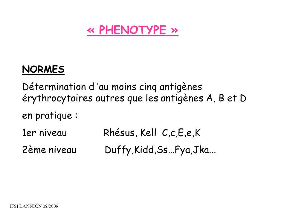 « PHENOTYPE » NORMES Détermination d au moins cinq antigènes érythrocytaires autres que les antigènes A, B et D en pratique : 1er niveau Rhésus, Kell