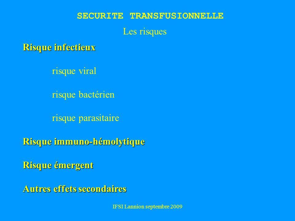IFSI Lannion septembre 2009 SECURITE TRANSFUSIONNELLE Risque infectieux risque viral risque bactérien risque parasitaire Risque immuno-hémolytique Risque émergent Autres effets secondaires Les risques