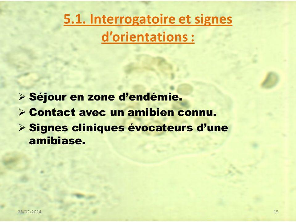 5.1. Interrogatoire et signes dorientations : Séjour en zone dendémie. Contact avec un amibien connu. Signes cliniques évocateurs dune amibiase. 25/02
