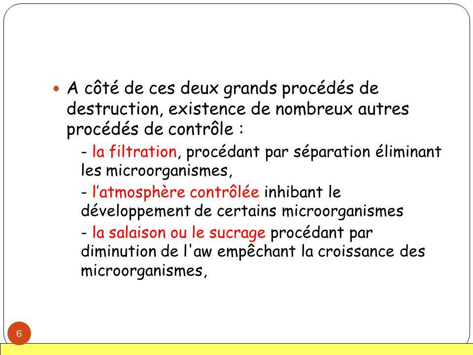 Principaux agents physiques antimicrobiens - Température - Rayonnements (irradiation) - Filtration - Atmosphère modifiée - Conservateurs (sucre, sels, produits acides) : voir agents chimiques