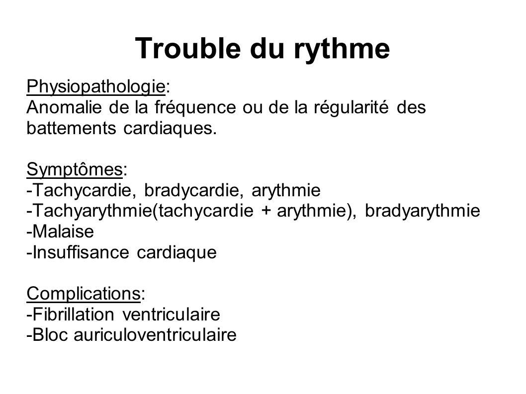 Trouble du rythme Physiopathologie: Anomalie de la fréquence ou de la régularité des battements cardiaques.