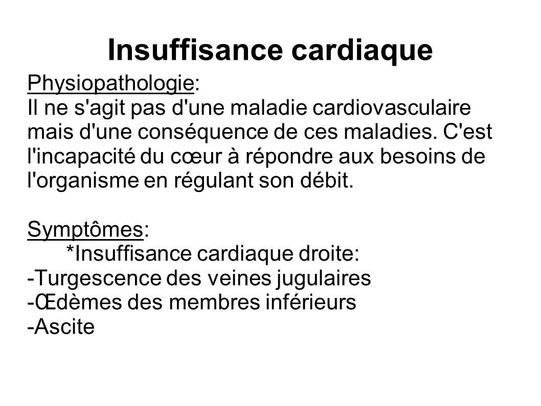 Insuffisance cardiaque Physiopathologie: Il ne s agit pas d une maladie cardiovasculaire mais d une conséquence de ces maladies.