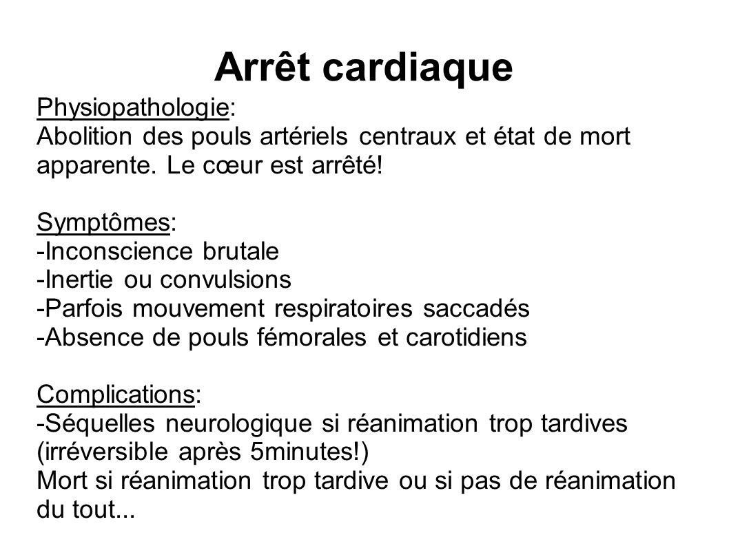 Arrêt cardiaque Physiopathologie: Abolition des pouls artériels centraux et état de mort apparente.