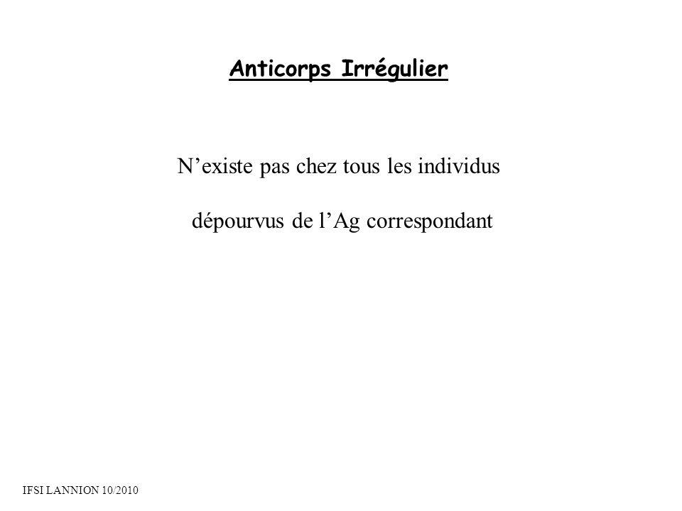 Anticorps Irrégulier Nexiste pas chez tous les individus dépourvus de lAg correspondant IFSI LANNION 10/2010
