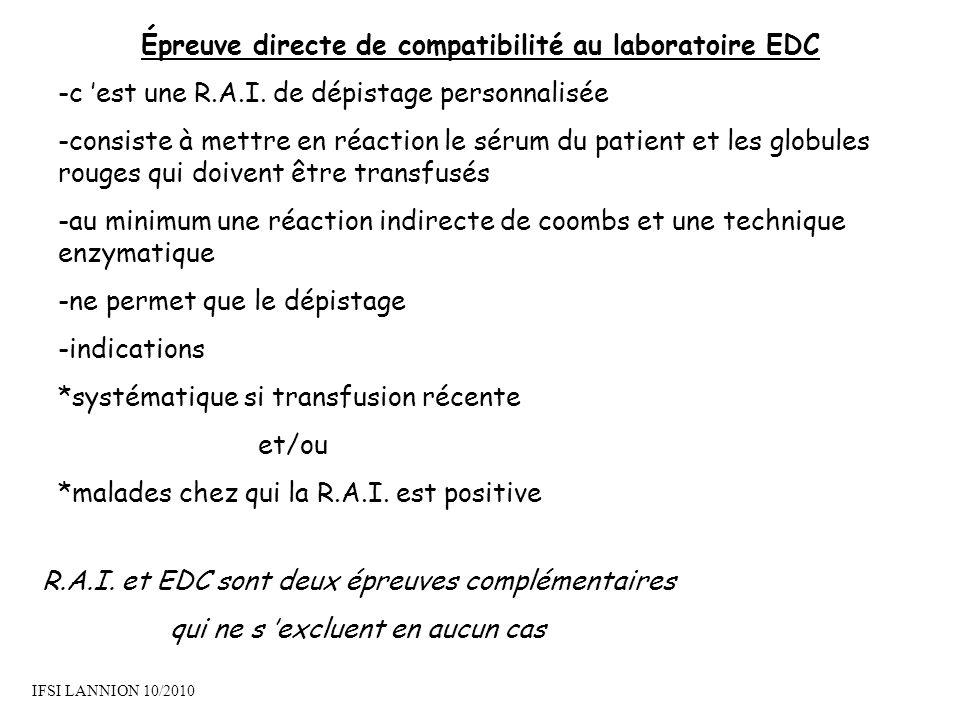 Épreuve directe de compatibilité au laboratoire EDC -c est une R.A.I.