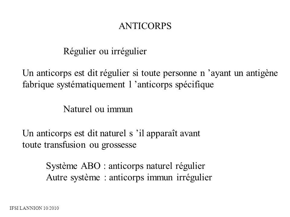ANTICORPS Régulier ou irrégulier Un anticorps est dit régulier si toute personne n ayant un antigène fabrique systématiquement l anticorps spécifique Naturel ou immun Un anticorps est dit naturel s il apparaît avant toute transfusion ou grossesse Système ABO : anticorps naturel régulier Autre système : anticorps immun irrégulier IFSI LANNION 10/2010
