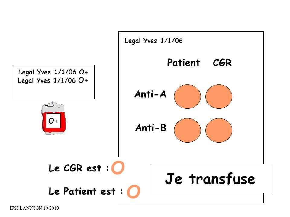 PatientCGR Anti-A Anti-B Le CGR est : Le Patient est : O O Je transfuse Legal Yves 1/1/06 O+ O+ Legal Yves 1/1/06 IFSI LANNION 10/2010