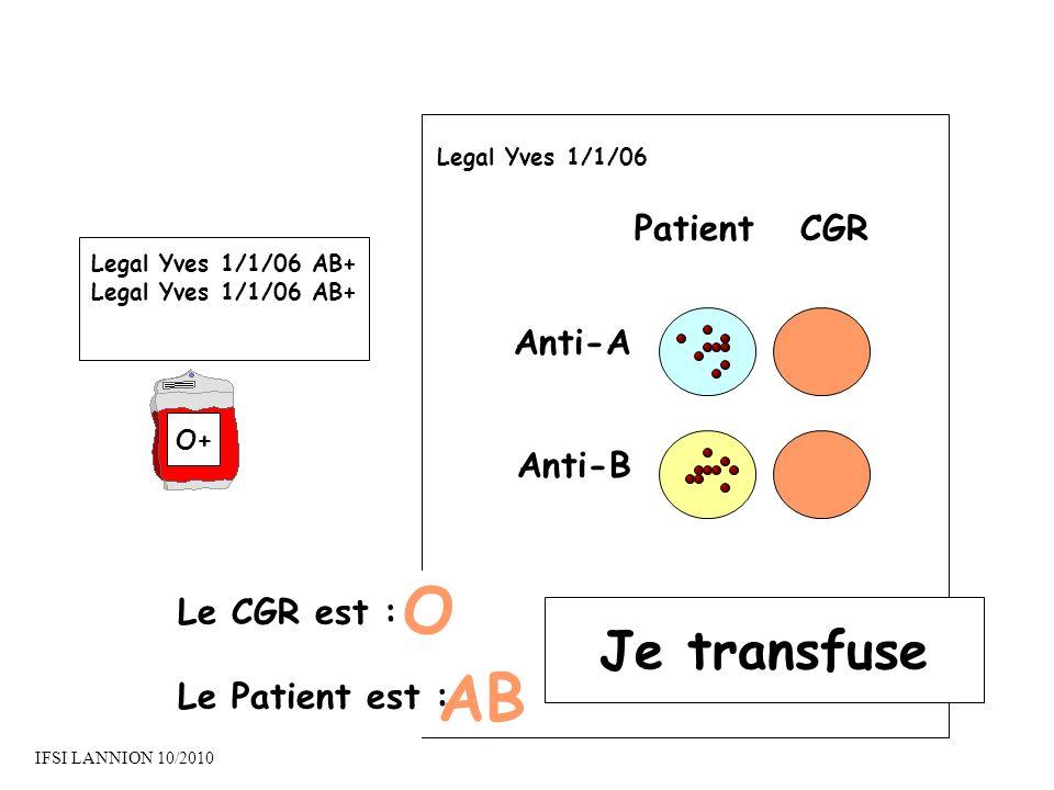 PatientCGR Anti-A Anti-B Le CGR est : Le Patient est : O AB Je transfuse Legal Yves 1/1/06 Legal Yves 1/1/06 AB+ O+ IFSI LANNION 10/2010