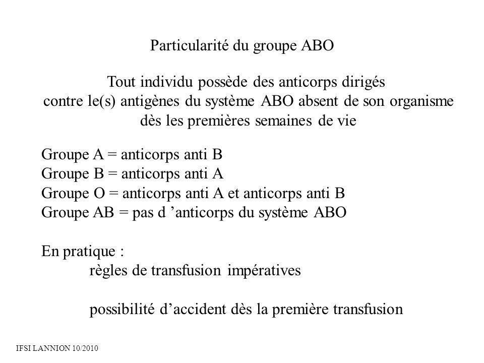 Particularité du groupe ABO Tout individu possède des anticorps dirigés contre le(s) antigènes du système ABO absent de son organisme dès les premières semaines de vie Groupe A = anticorps anti B Groupe B = anticorps anti A Groupe O = anticorps anti A et anticorps anti B Groupe AB = pas d anticorps du système ABO En pratique : règles de transfusion impératives possibilité daccident dès la première transfusion IFSI LANNION 10/2010