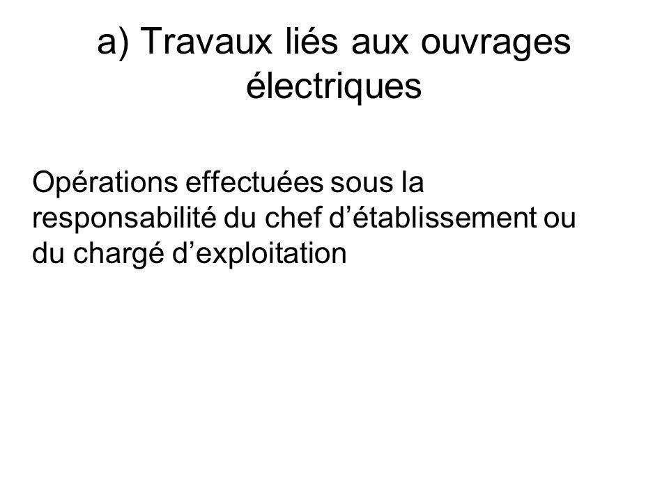 a) Travaux liés aux ouvrages électriques Opérations effectuées sous la responsabilité du chef détablissement ou du chargé dexploitation