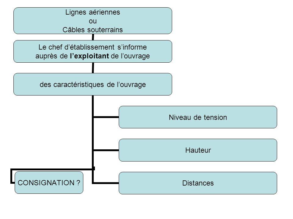 Lignes aériennes ou Câbles souterrains Le chef détablissement sinforme auprès de lexploitant de louvrage des caractéristiques de louvrage Niveau de te