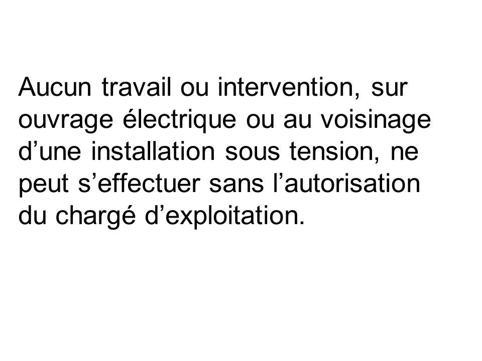 Aucun travail ou intervention, sur ouvrage électrique ou au voisinage dune installation sous tension, ne peut seffectuer sans lautorisation du chargé