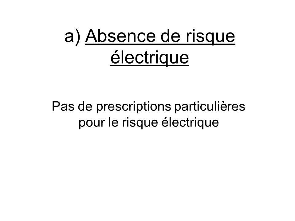 a) Absence de risque électrique Pas de prescriptions particulières pour le risque électrique