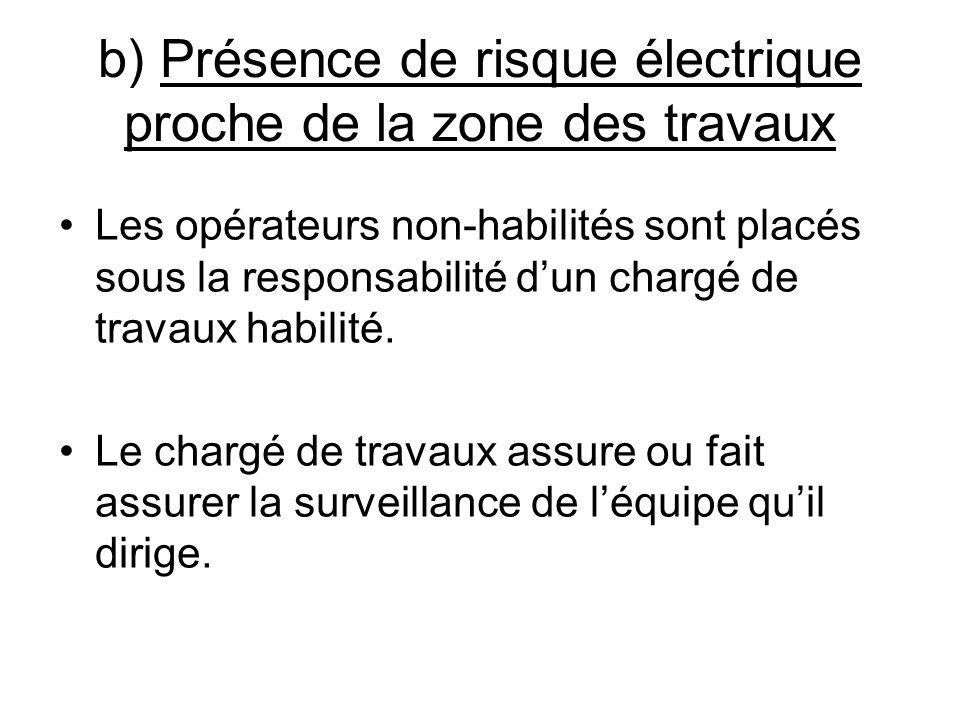 b) Présence de risque électrique proche de la zone des travaux Les opérateurs non-habilités sont placés sous la responsabilité dun chargé de travaux h