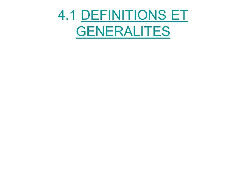 4.1 DEFINITIONS ET GENERALITES