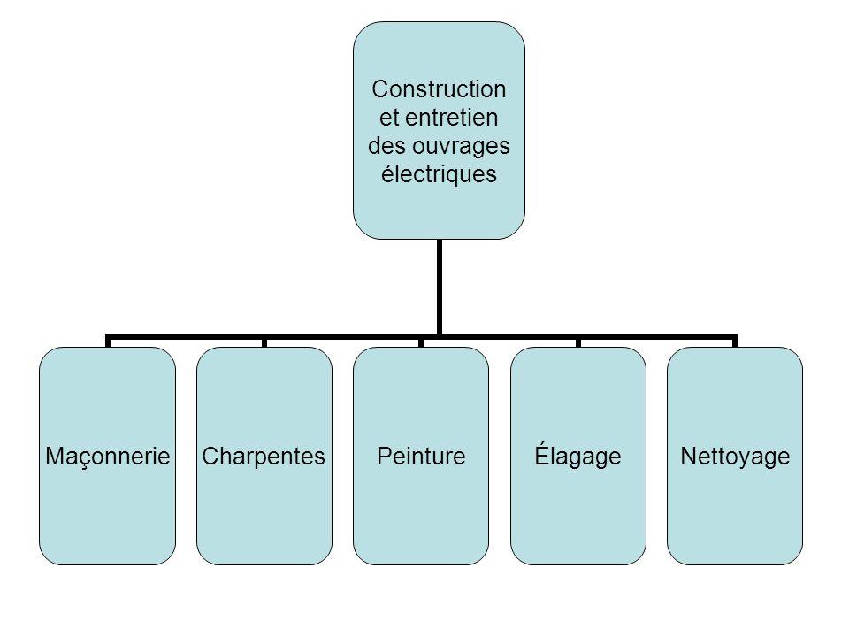 Construction et entretien des ouvrages électriques MaçonnerieCharpentesPeintureÉlagageNettoyage