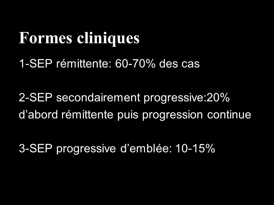 Formes cliniques 1-SEP rémittente: 60-70% des cas 2-SEP secondairement progressive:20% dabord rémittente puis progression continue 3-SEP progressive d