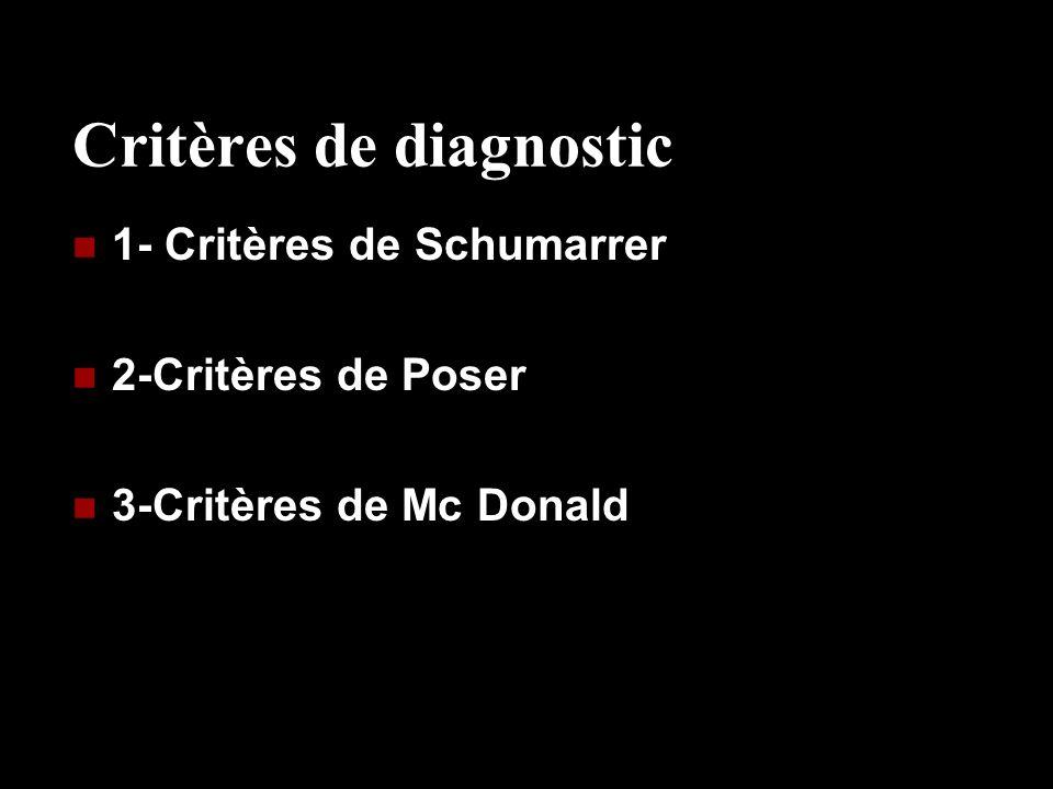 Critères de diagnostic 1- Critères de Schumarrer 2-Critères de Poser 3-Critères de Mc Donald