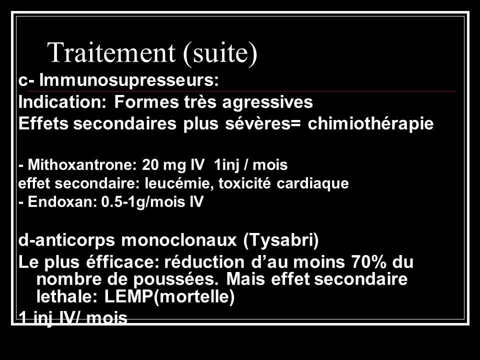 Traitement (suite) c- Immunosupresseurs: Indication: Formes très agressives Effets secondaires plus sévères= chimiothérapie - Mithoxantrone: 20 mg IV