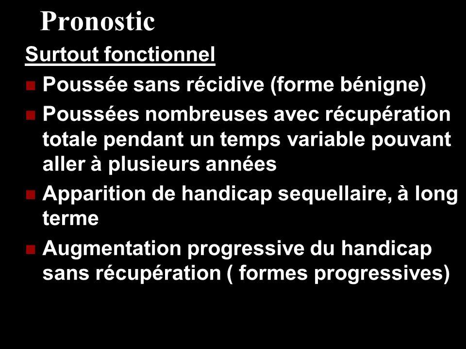 Pronostic Surtout fonctionnel Poussée sans récidive (forme bénigne) Poussées nombreuses avec récupération totale pendant un temps variable pouvant all