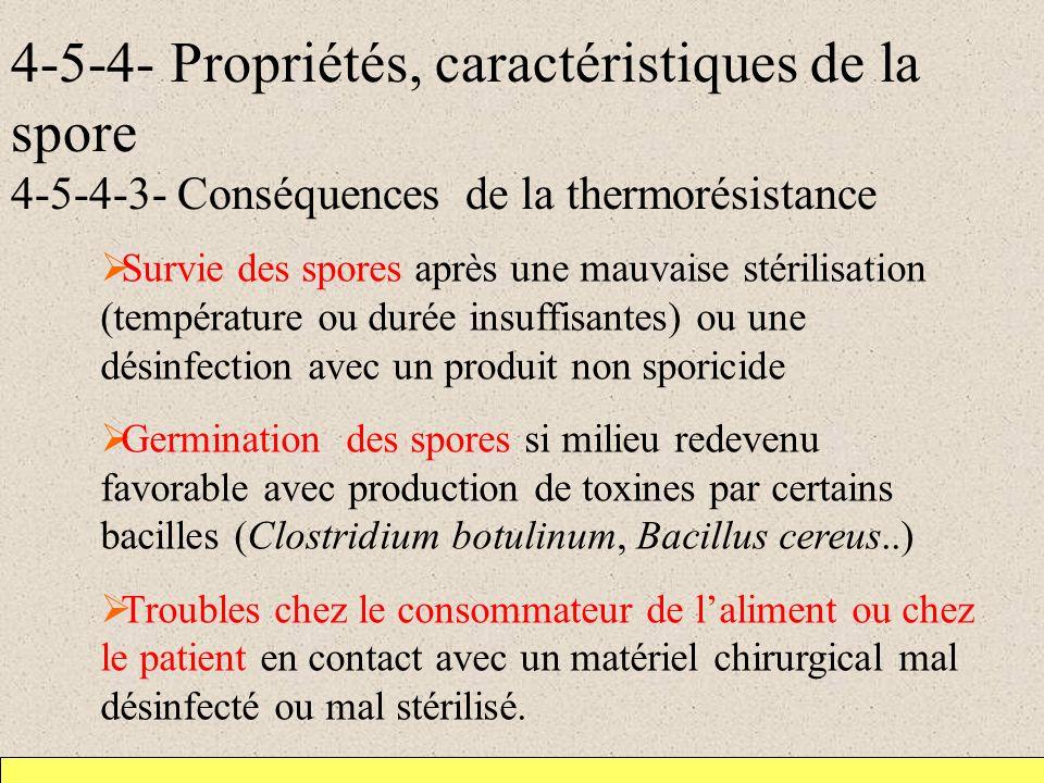 4-5-4- Propriétés, caractéristiques de la spore 4-5-4-3- Conséquences de la thermorésistance Survie des spores après une mauvaise stérilisation (tempé