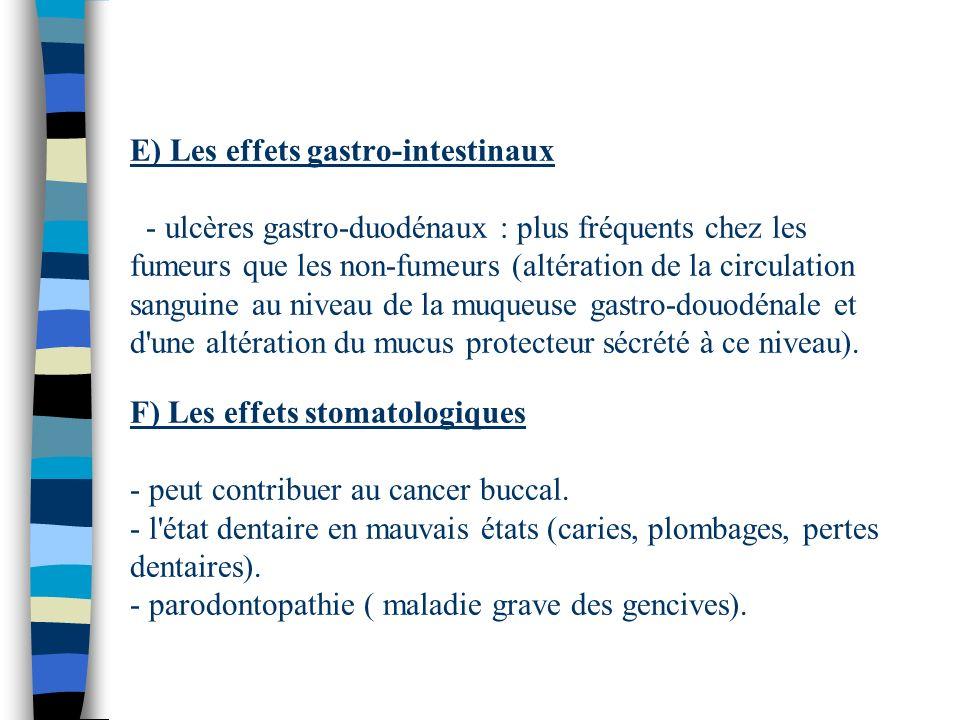 E) Les effets gastro-intestinaux - ulcères gastro-duodénaux : plus fréquents chez les fumeurs que les non-fumeurs (altération de la circulation sangui