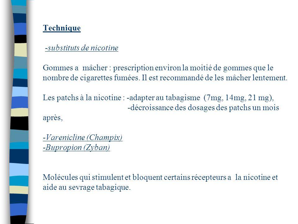 Technique -substituts de nicotine Gommes a mâcher : prescription environ la moitié de gommes que le nombre de cigarettes fumées. Il est recommandé de