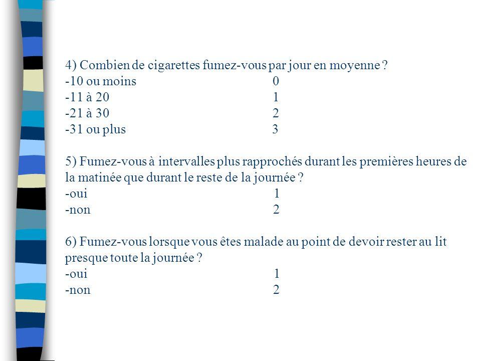4) Combien de cigarettes fumez-vous par jour en moyenne ? -10 ou moins 0 -11 à 20 1 -21 à 30 2 -31 ou plus 3 5) Fumez-vous à intervalles plus rapproch