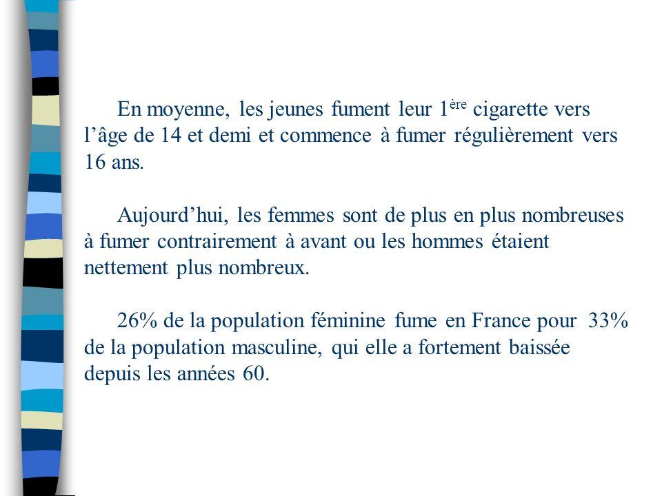 En moyenne, les jeunes fument leur 1 ère cigarette vers lâge de 14 et demi et commence à fumer régulièrement vers 16 ans. Aujourdhui, les femmes sont