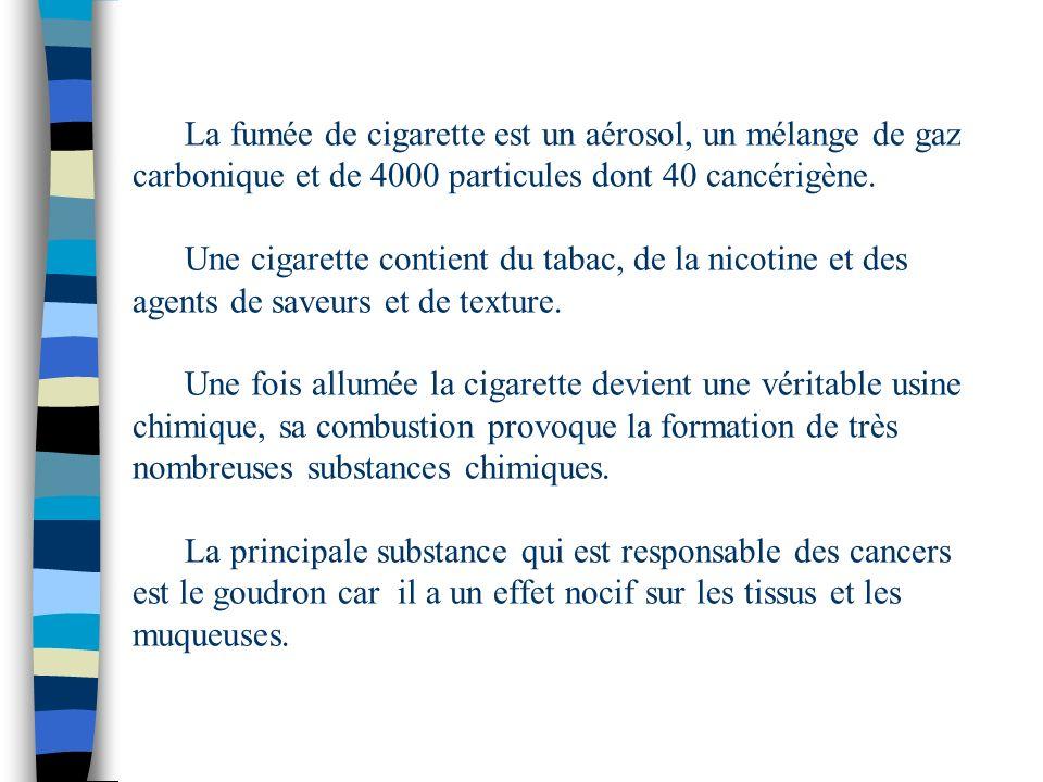 La fumée de cigarette est un aérosol, un mélange de gaz carbonique et de 4000 particules dont 40 cancérigène. Une cigarette contient du tabac, de la n