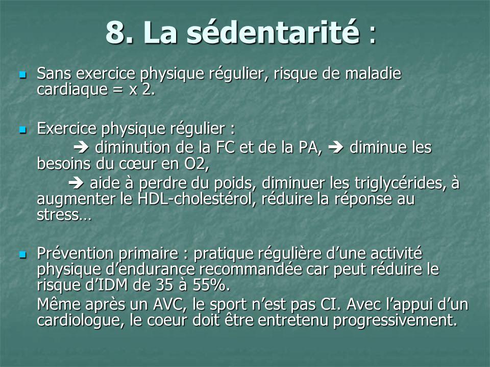 8. La sédentarité : Sans exercice physique régulier, risque de maladie cardiaque = x 2. Sans exercice physique régulier, risque de maladie cardiaque =