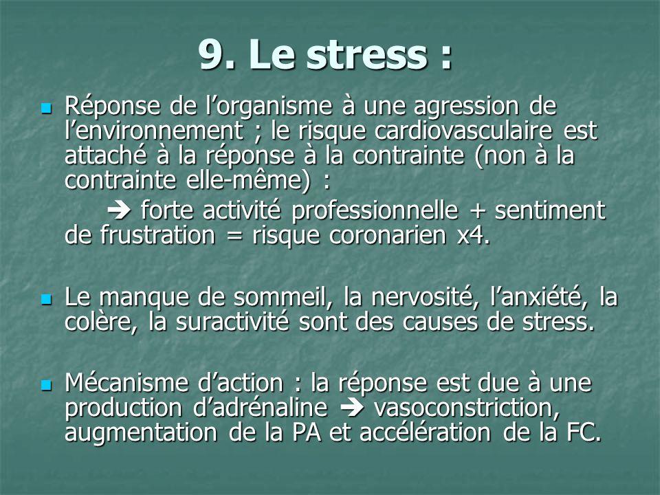 9. Le stress : Réponse de lorganisme à une agression de lenvironnement ; le risque cardiovasculaire est attaché à la réponse à la contrainte (non à la