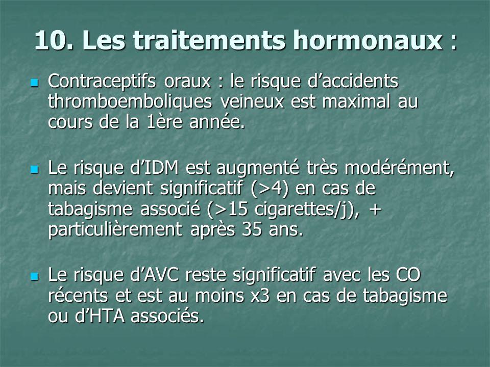 10. Les traitements hormonaux : Contraceptifs oraux : le risque daccidents thromboemboliques veineux est maximal au cours de la 1ère année. Contracept