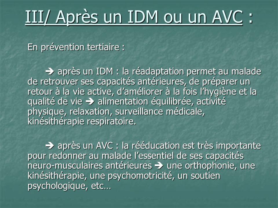 III/ Après un IDM ou un AVC : En prévention tertiaire : après un IDM : la réadaptation permet au malade de retrouver ses capacités antérieures, de pré