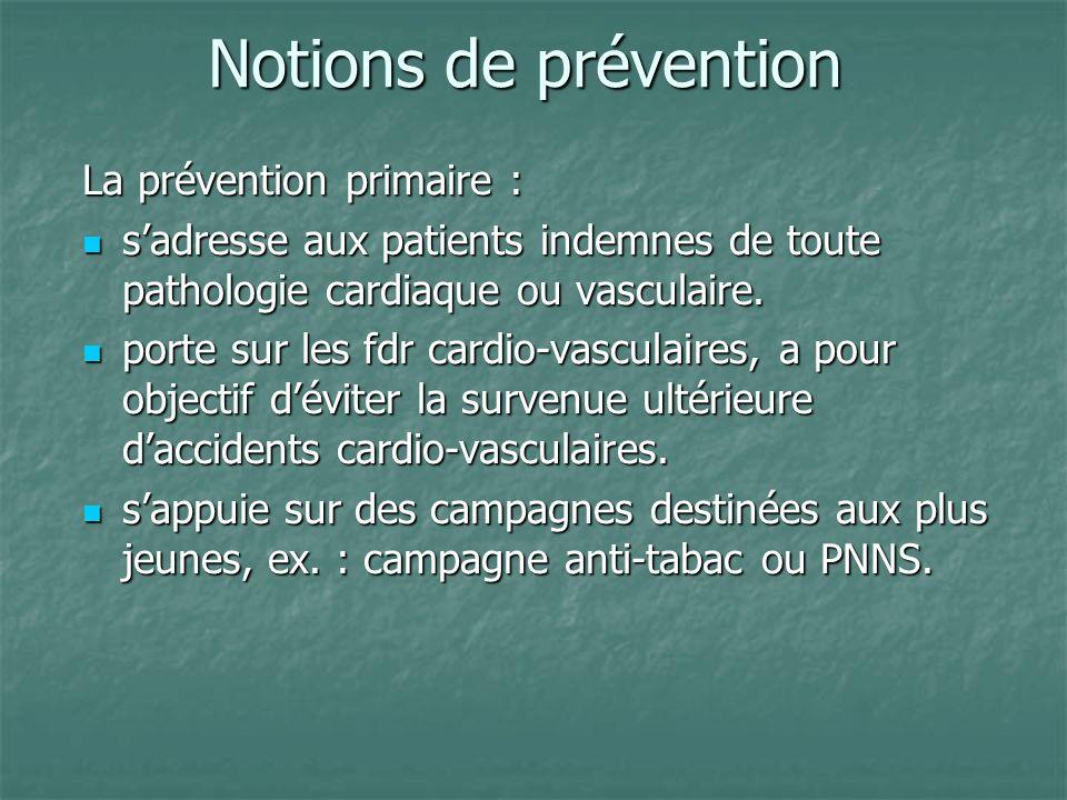 Notions de prévention Notions de prévention La prévention primaire : sadresse aux patients indemnes de toute pathologie cardiaque ou vasculaire. sadre