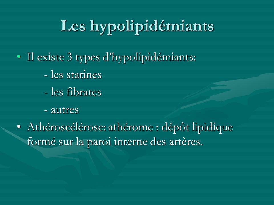 Les hypolipidémiants Il existe 3 types dhypolipidémiants:Il existe 3 types dhypolipidémiants: - les statines - les statines - les fibrates - autres At