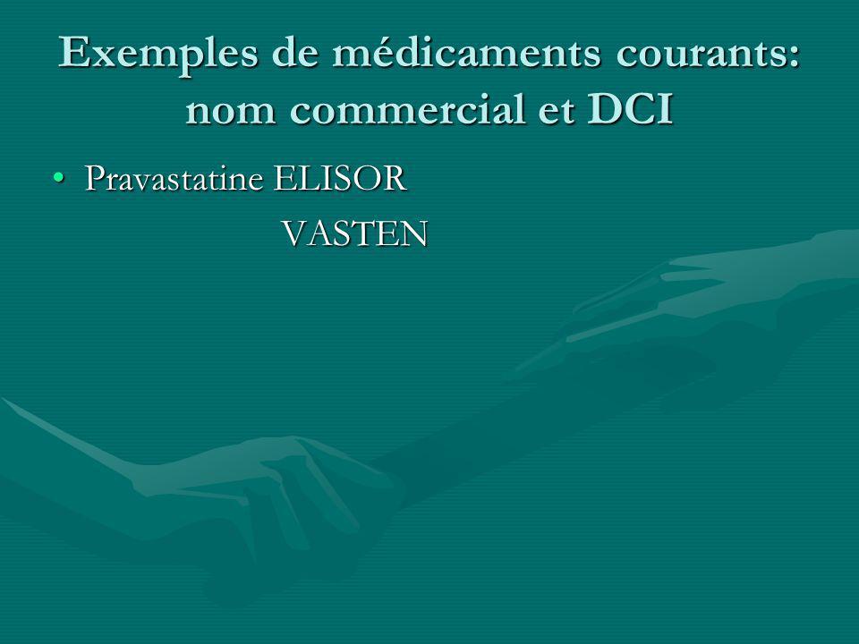 Exemples de médicaments courants: nom commercial et DCI Pravastatine ELISORPravastatine ELISOR VASTEN VASTEN