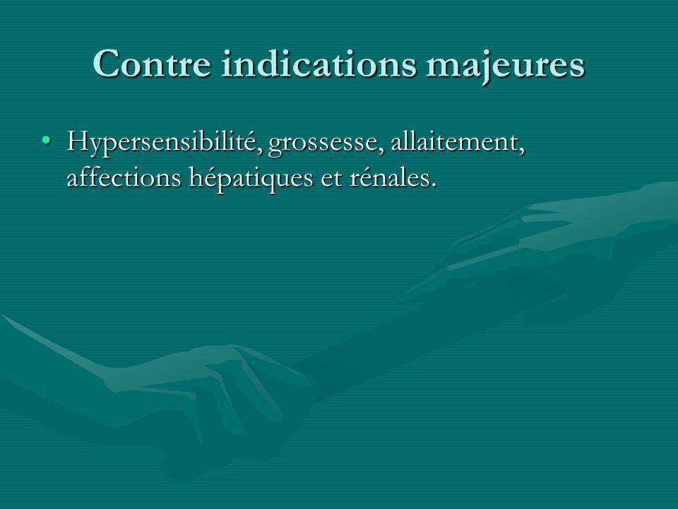Contre indications majeures Hypersensibilité, grossesse, allaitement, affections hépatiques et rénales.Hypersensibilité, grossesse, allaitement, affec