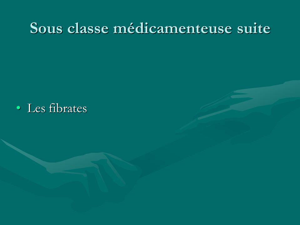 Sous classe médicamenteuse suite Les fibratesLes fibrates