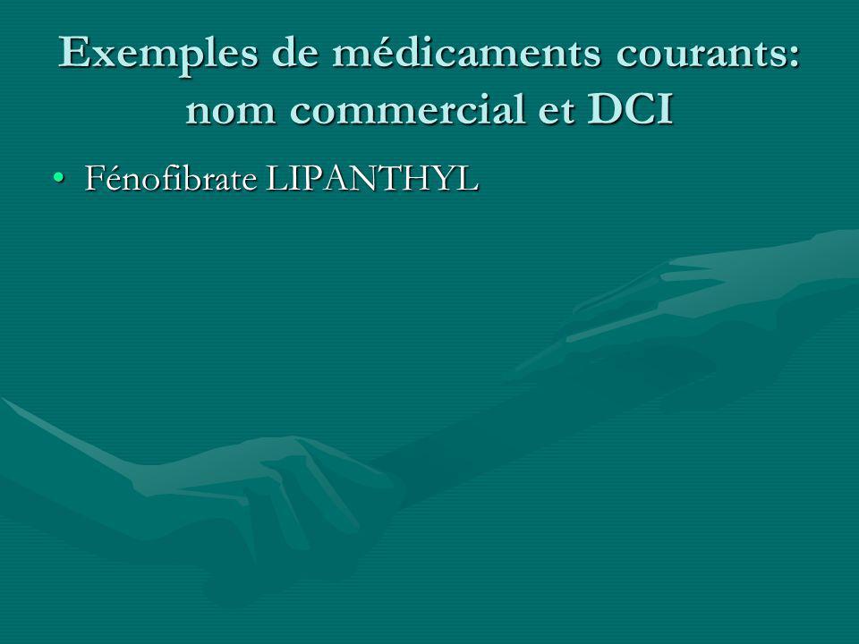 Exemples de médicaments courants: nom commercial et DCI Fénofibrate LIPANTHYLFénofibrate LIPANTHYL