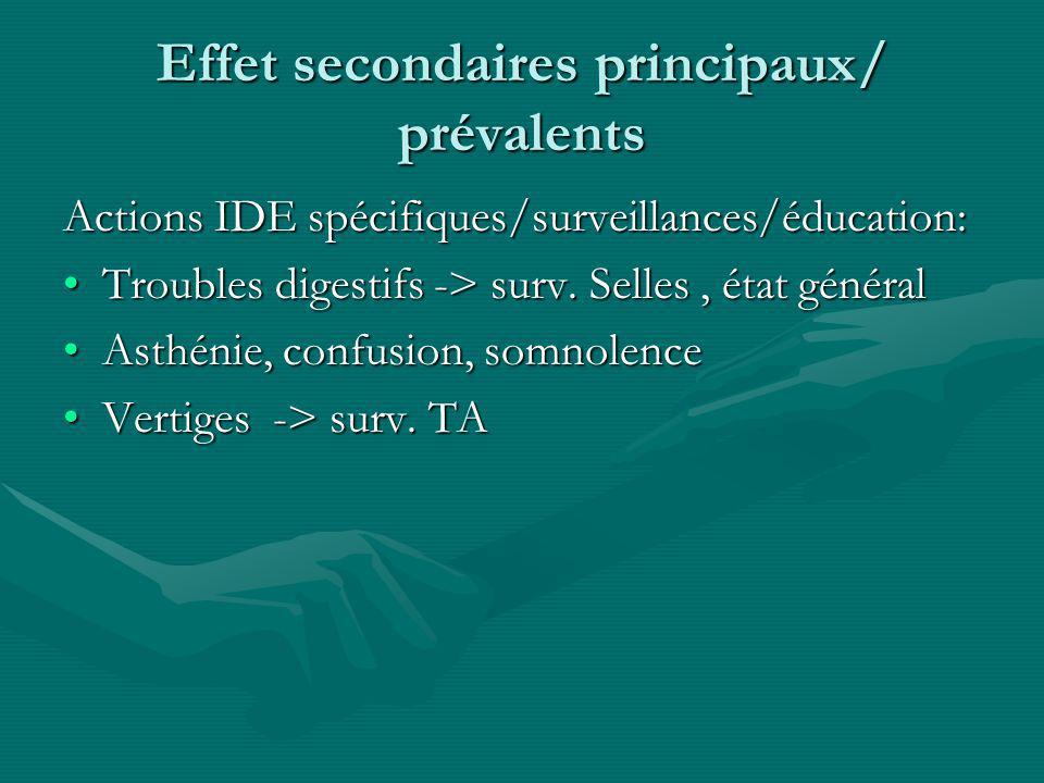 Effet secondaires principaux/ prévalents Actions IDE spécifiques/surveillances/éducation: Troubles digestifs -> surv. Selles, état généralTroubles dig
