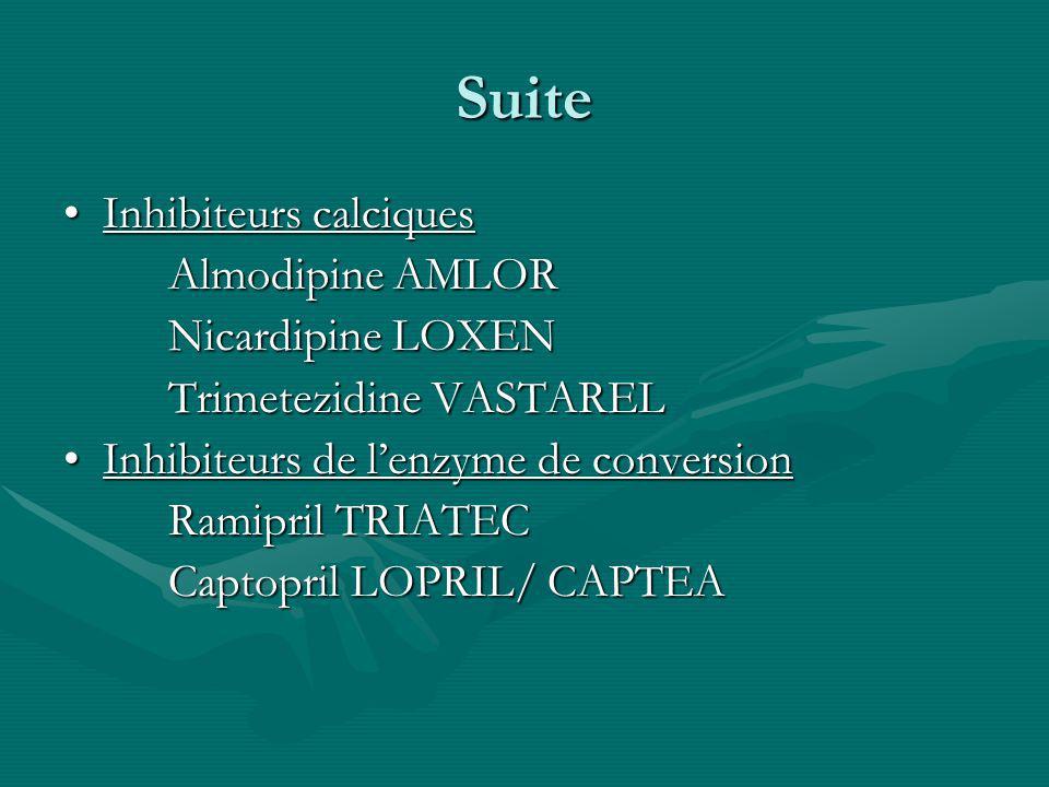 Suite Inhibiteurs calciquesInhibiteurs calciques Almodipine AMLOR Nicardipine LOXEN Trimetezidine VASTAREL Inhibiteurs de lenzyme de conversionInhibit